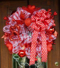Deco Mesh Valentine's Day Wreath with a Big POLKA DOT by decoglitz