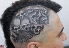 Grey Skull Tattoos On Man Head
