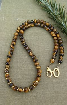 Men's Tiger Eye Necklace Gold Beads Karen Hill Tribe Beads Elegant Sophisticated Unisex Jewelry Brown Gemstone Necklace Gift Idea (70.00 USD) by BonArtsStudio