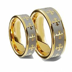 Men & Ladie's 8MM/6MM Flat Gold Plated with Celtic Crosses Tungsten Carbide Wedding Band Ring Set ,. Please use drop down menu to choose your desired sizes. Genuine Tungsten Carbide (Cobalt Free) Wedding Band Ring. Hypoallergenic - Comfort Fit. This ring can be worn as a Wedding Band or Promise Ring by men or women. Beware of Imitated Replicas - 30 Day Money Back Gurantee!.
