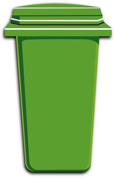 Green, Trash, Bin, Can, Plastic, Container, Garbage