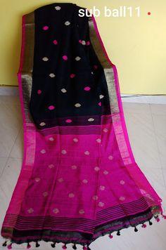 Lenin Jamdani saree with ball buttiis - Elegant Fashion Wear Latest Saree Blouse, Cotton Saree Blouse, Jamdani Saree, Silk Sarees, Saris, Modern Outfits, Trendy Outfits, Elegant Fashion Wear, Women's Fashion