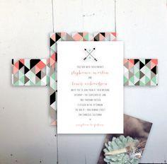 Geometrics Wedding Invitation by JPress Designs by JPressDesigns, $3.25