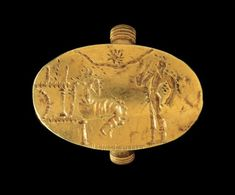 Gold signet ring with a representation of the Sacred Marriage. This important Minoan cult ritual focused on the union of the divine couple was related to the seasonal renewal of the forces of nature. From Thebes, Boeotia, Late Helladic IIB-IIIA period (second half of the 15th-14th c. BC).