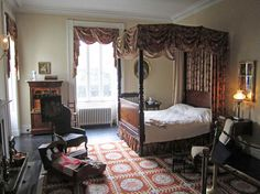 Bartow-Pell Mansion.  During this time, in an effort to save funds it was not uncommon to use older furniture in bedrooms, in this case a Federal bed, rather then the contemporary Empire style, since guests typically did not see these rooms.