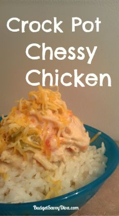 Crock Pot Cheesy Chicken Recipe | Budget Savvy Diva... I have this in the crock pot right now...cant wait!