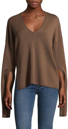 Tibi Women's Mockrib Wool Sweater