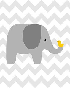 Gray elephant with bird on chevron  nursery art by curryonthecouch, €12.50