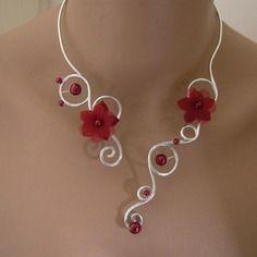 Collier bordeaux/argenté, aluminium p robe de mariée/mariage/soirée fleur/perles (pas cher)