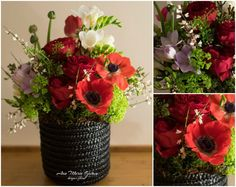 Floral box with anemones, David Austin Roses, freesias