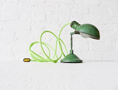 ESW | Mini Machine Age Clip Lamp with Neon Lime Green Net Color Cord