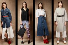 Rachel Comey Fave Seasonless Pre-Fall 2015 Looks-pic3 As for textiles, Comey's affair w/denim came in many forms including wide leg frayed hem jeans + a wide leg jumpsuit peeking out from a pink mohair coat, while linen + cotton popped throughout the collection.
