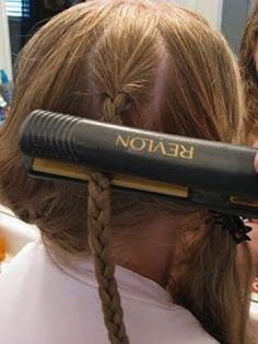 """This actually works: -- """"flat iron braid for instant waves but be sure to do larger braids (5-6 total over your whole head), and braid them LOOSELY. run over with a flat iron a few times, spritz with hairspray, then let your hair cool off (try braiding before applying your makeup or getting dressed, the longer the braids sit after ironing, the better it will hold)."""""""