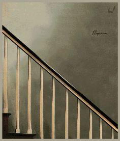 mirrormaskcamera:vintagedeluxeworld:  Banister Slide :-)「Look out below (1956) by Gil Elvgren」