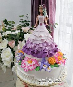 Ombre Barbie Cake with Buttercream Fowers - Sorry no recipe, just the picture of the cake.