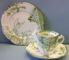 "Shelley/Wileman Lily Shape ""Kensington Print"" Pattern Tea Cup Trio."