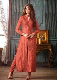 Peach Colour Banarasi Silk A-Line Salwar Suit #eid2016 #eidsale #eidsalwarkameez #eidcollection #eidfashion #eidcelebration #designereidcollection #eidclothing #eidshopping