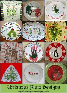 Handprint Footprint Christmas Plate Designs