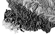 Northeast Carpathians hillshade map    poster   high resolution digital map   Ukraine   Україна  hillshade   printable map