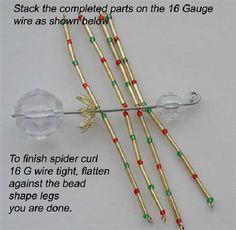 How to Make the Christmas Spider Beaded Crafts, Wire Crafts, Xmas Crafts, Diy Christmas Gifts, Christmas Projects, Jewelry Crafts, Christmas Spider, Spider Crafts, Beaded Spiders