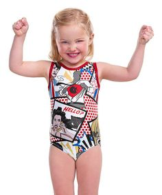 This White & Red Comic Leotard - Toddler & Girls by Aerials by Alpha Factor is perfect! #zulilyfinds