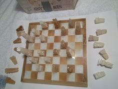 Superb #marble chess set. large #marble #inset board 37cm square . good #condition,  View more on the LINK: http://www.zeppy.io/product/gb/2/302221232418/