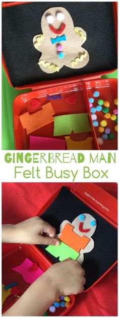 Gingerbread Man Busy Box, fun felt busy box idea for traveling or quiet time!