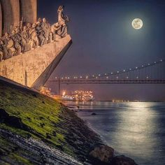 Moon light in Lisbon, Padrão dos Descobrimentos - Portugal - by Val Lima Visit Portugal, Spain And Portugal, Portugal Travel, Portugal Trip, Nightlife Travel, Heaven On Earth, Portuguese, Night Life, Places To See