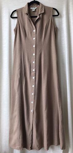 Vintage Tan Dress 100% Silk Pearl Buttons Selene Sport Brand Size Medium  #SeleneSport #FloorLength