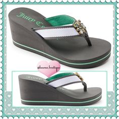 """{Juicy Couture} Gray/Green Rhinestone Sandals HPNWT Juicy Couture gray/green rhinestone wedge sandals! Features stunning rhinestone, fabric strap/toe post give added comfort, padded footbed & outsole provide stability. Fabric upper/lining, EVA outsole, 3"""" heel, .38"""" platform. ▪️M 7-8 ▪️L 9-10 ▪️XL 11 ▪️Size Down if 1/2 Size ▪COLOR AVAILABLE TO BUY & BUNDLE! Gray/Green, Pink/White, Pink/Black ▪️Please Don't Buy Listing, Comment & I'll Create Your Listing ▪️Bundle Discounts, Smoke-Free, No…"""