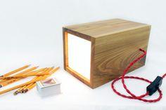 Wood Floor Lamp Wood Table Lamp Brown Oak Red by RoKDesignStudio