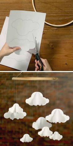 wolken papier diy mobiles weiß bleistift