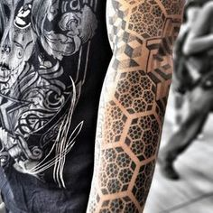 Mens Full Sleeves Dotted Hexagon Within A Hexagon Honeycomb Tattoo