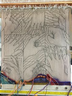 "I can't believe how wonderful this is. Such an inspiration ""J Meetze Studio/Common Threads: The New Tapestry Has Left the Starting Gate"" Weaving Loom Diy, Inkle Weaving, Tablet Weaving, Weaving Art, Hand Weaving, Bead Loom Patterns, Weaving Patterns, Tapestry Loom, Impression Textile"