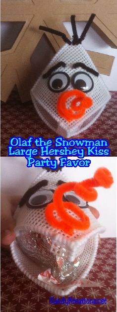 Celebrate at your Snowman or Frozen party with this Olaf the Snowman party favor.  Make a simple and quick plastic canvas kiss holder for a large Hershey Kiss and give warm hugs and kisses at your next party.