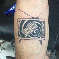 Twilight Zone Intro on an old TV set by Liz Sanchez @ Needlepushers Van Nuys CA Japanese tattoo sleeve