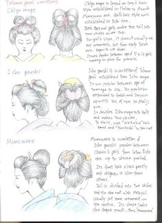 NIHONGAMI TUTORIAL 14 - Types of hairystyles for female, Tatane gami variations: Chigo mage [based on boy's style from Heian to Azuch Momoyama era, girl's style established during Edo era], Icho gaeshi [variation based on Icho mage, popular amongst teenagers to 20-year-olds, also Geisha and Dayuu in their 30s in Meiji era], Momoware [chonin girls from later Edo era to Showa period], by ShotaKotake.