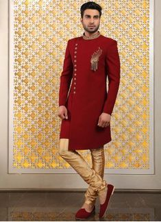 Authentic splendor will come out as a outcome of the dressing trend with this designer dark red indo western suit . It come with matching bottom. Note: mala, mojdi and safa(turban) only for photoshoot. Wedding Dresses Men Indian, Wedding Dress Men, Mens Sherwani, Wedding Sherwani, Western Suits, Western Dresses, Engagement Dress For Men, Mens Traditional Wear, Mens Ethnic Wear