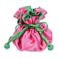 Pink & Green Satin Jewelry Pouch (9 Compartments)