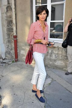 Ines de la Fressange Style - Red and White Check Shirt - Roger Vivier  Handbags - Roger Vivier Miss V Bag - Tods Gommino Shoes - Tods Gommino  Loafers beefaeb891