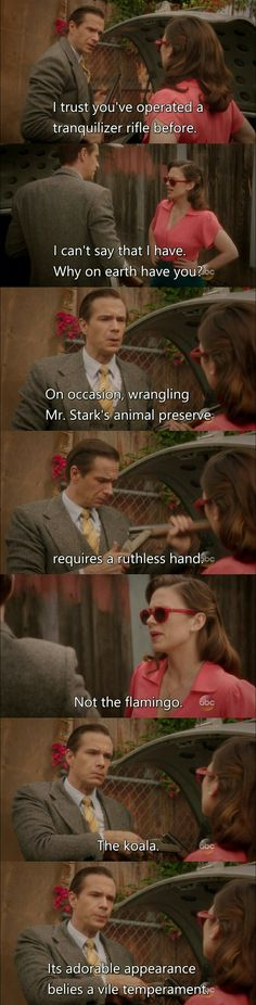 Agent Carter Smoke and Mirrors. Another example of what made this show awesome. And why I've always said that, if I were a wild animal, I'd be a koala. The flamingo the koala Dc Memes, Marvel Memes, Marvel Dc, Marvel Comics, Marvel Quotes, Movie Memes, Marvel Funny, Hayley Atwell, Peggy Carter
