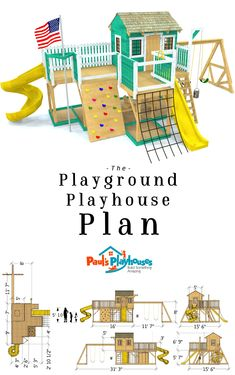 Playground Playhouse Plan - A two story playground plan with a playhouse on top as well. A total of 130 ft² of play s -