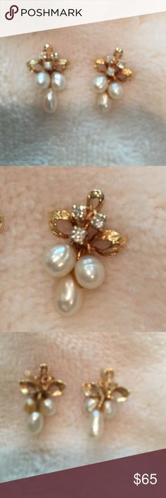 Delicate pearl and diamond earrings Small drop earrings 14k gold, real pears and real diamonds. Worn once for my wedding in 1989. Price then $125. Now??? Macys Jewelry Earrings