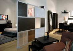 Creative room dividers using frosted glass