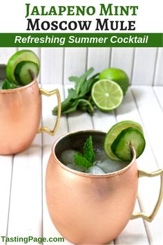 Jalapeno Mint Moscow Mule — Tasting Page If you're looking for new cocktail inspiration, try this spicy jalapeno mint moscow mule. It has a modern and vibrant punch, perfect for summer drinking. Moscow Mule Recipe, Moscow Mule Mugs, Clean Eating Recipes, Clean Eating Snacks, Strawberry Banana Milkshake, Healthy Mexican Recipes, Vegan Recipes, Free Recipes, Easy Recipes