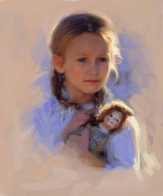 """A girl holding her doll, art by illustrator Robert Papp. """"He has produced hundreds of cover illustrations for major publishers across the United States."""" #girl #doll"""