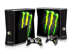I found 'Monster Drink Energy Slash Xbox 360 Slim Console & 2 controller Vinyl Skin Sticker' on Wish, check it out!