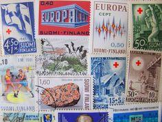 Finntastic 50 Vintage Worldwide Finnish Postage Stamps Philately Scandinavian Pride Suomi Finland Helsinki Vaasa.  via Etsy.