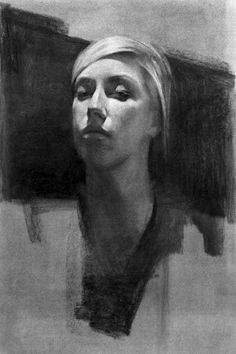 Beautiful charcoal drawing of a woman.