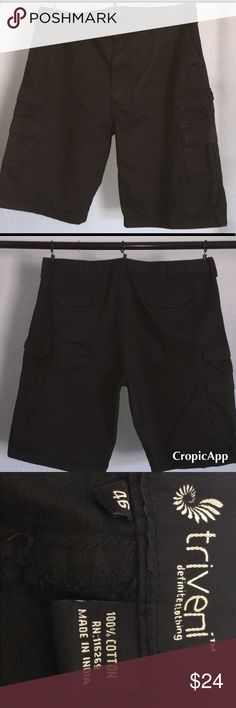 Triveni men's black cargo shorts 46 Preloved Triveni black Cargo shorts size 46. Excellent condition no signs of damage or wear and tear. triveni Shorts Cargo